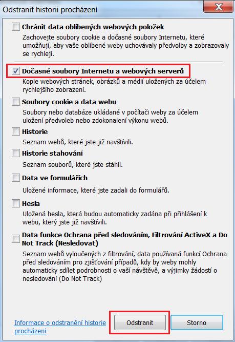 Internet explorer - vymazat cache
